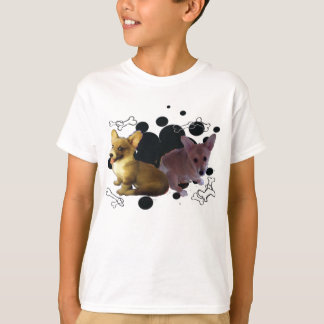 Corgi Pups with black dots background - T-Shirt