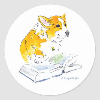 Corgi Read A Good Book Sticker