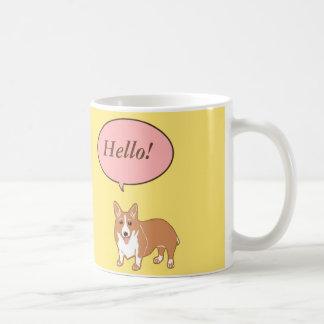 Corgi Says Hello Yellow Mug