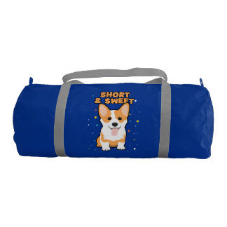 Corgi - Short and Sweet, Cute Dog Cartoon, Novelty Gym Bag