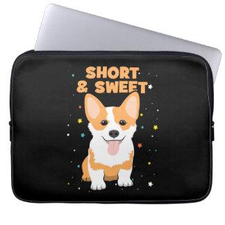 Corgi - Short and Sweet, Cute Dog Cartoon, Novelty Laptop Sleeve