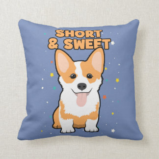 Corgi - Short and Sweet, Cute Dog Cartoon, Novelty Throw Pillow