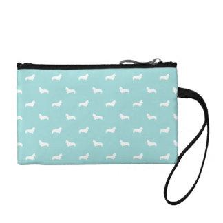 Corgi silhouette aqua blue pouch tote bag