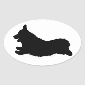 Corgi Silhouette - Running Oval Sticker