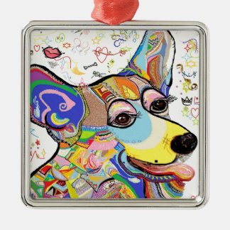 Corgi Silver-Colored Square Ornament