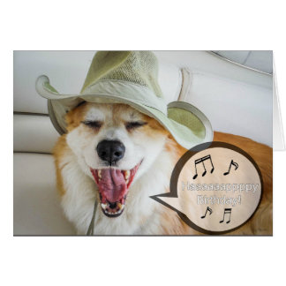 Corgi singing happy birthday card