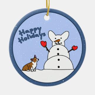 Corgi Snowman Christmas Ornament