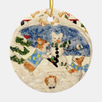 Corgi Snowman Ornament