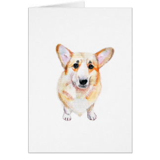 Corgi watercolor illustration card