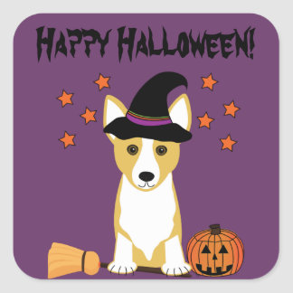 Corgi Witch Halloween Stickers