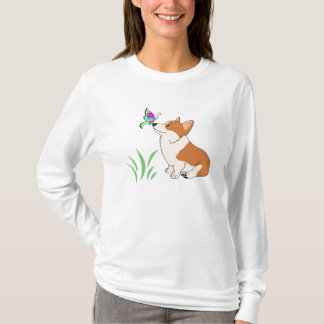 Corgi with Butterfly and Grass-1.png T-Shirt