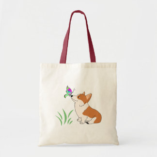 Corgi with Butterfly and Grass-1.png Tote Bag