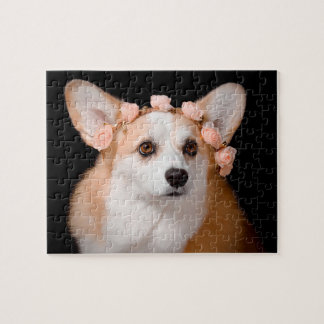 Corgi With Flowers in Her Hair Jigsaw Puzzle