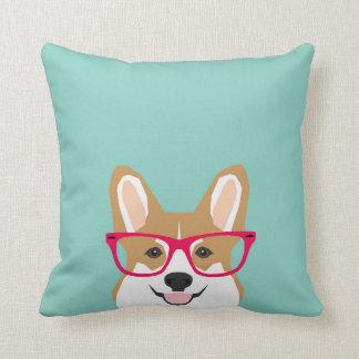 Corgi with Glasses - Hipster Dog, Cute Corgi GIft Throw Pillows