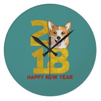 Corgi Year of the Dog 2018 New Year Clock