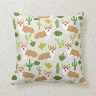 corgis and cactus throw pillow - cute corgi gift