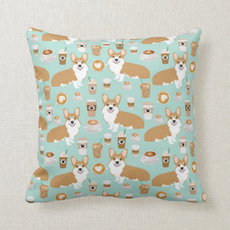 Corgis and Coffees pillow - mint