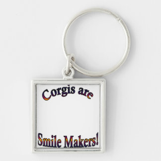 Corgis are Smile Makers Template Silver-Colored Square Keychain