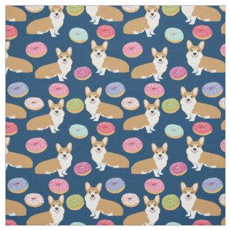 Corgis Donuts Fabric - cute corgi donut design
