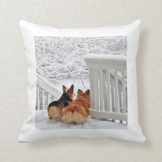Corgis in the snow throw pillow