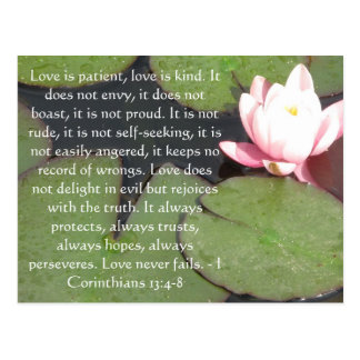 Corinthians 13:4-8 BIBLE VERSE ABOUT LOVE Postcard