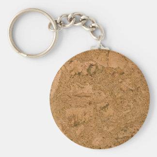Cork Basic Round Button Keychain