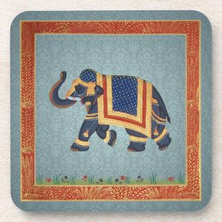 Cork Coaster blue grey gold Elephant print