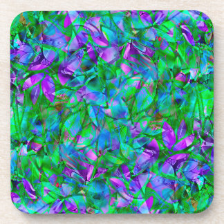 Cork Coaster Floral Abstract Stained Glass