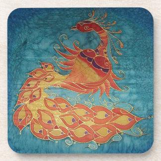 Cork Coaster: Peacock Silk Painting Drink Coasters