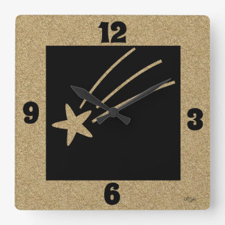 Cork Like Background with Shooting Star Square Wall Clock