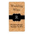 Cork Look and Monogram Wedding Mini Wine Label