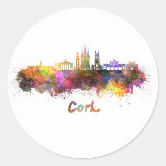 Cork skyline in watercolor classic round sticker