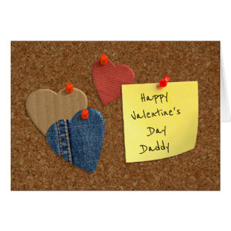 Corkboard cutout hearts Valentine Card