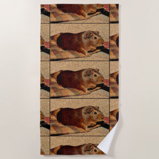 Corkboard Look Guinea Pig Beach Towel