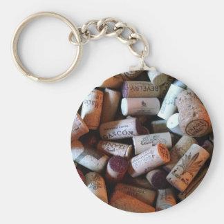 Corks a plenty basic round button keychain