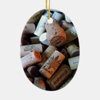 Corks a plenty ceramic oval ornament