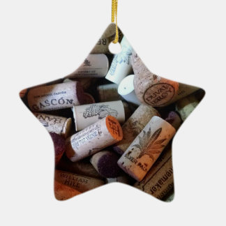 Corks a plenty ceramic star ornament