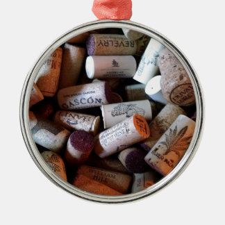 Corks a plenty Silver-Colored round ornament