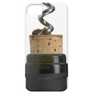 Corkscrew and cork, photographed on white case for the iPhone 5