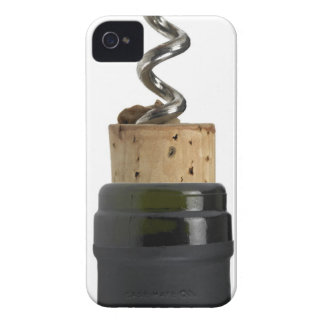 Corkscrew and cork, photographed on white iPhone 4 Case-Mate cases