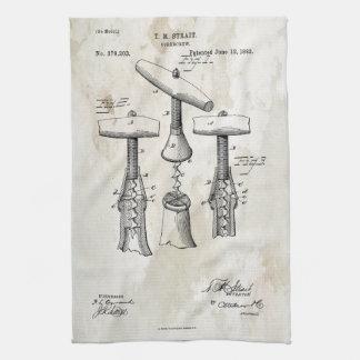 Corkscrew Patent Print 1883 Towel