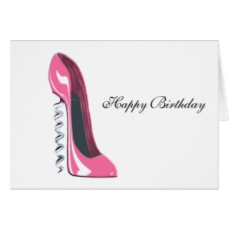 Corkscrew Pink Stiletto Shoe Art Card
