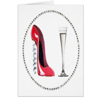 Corkscrew Red Stiletto and Champagne Flute Gifts Card