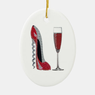 Corkscrew Red Stiletto and Champagne Glass Art Ceramic Ornament