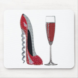 Corkscrew Red Stiletto and Red Wine Art Mouse Pad