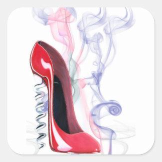 Corkscrew Red Stiletto Shoe Square Sticker