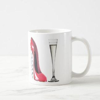 Corkscrew Stiletto Shoe and Champagne Flute Glass Coffee Mug