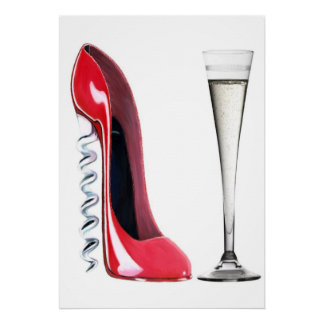 Corkscrew Stiletto Shoe and Champagne Flute Print