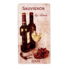 corkscrew, wine glass and grapes wine bottle label
