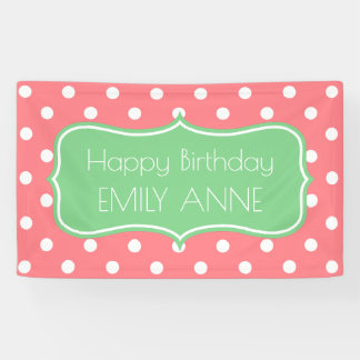 Corla Pink and Sea Green Polka Dot Personalized Banner